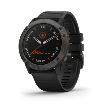 Fenix 6X Pro Solar - Titanium Carbon Gray DLC with Black Band