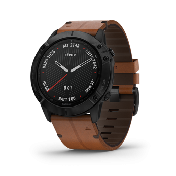 Fenix 6X Sapphire - Black DLC with Chestnut Leather Band